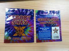 HOT Free Selling/ Cheapest/stock herbal incense bag with scooby snax in different flavors/zipper/teach notch/stocking bags