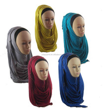 Slip On Instant Amira Style Cotton Jersey on-the-go Hijab glitter chain border Shawl Scarf