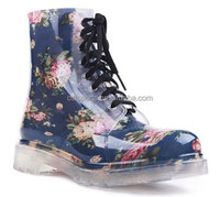 Ladies cheap fashion transparent high heel pvc rain boots wholesale women