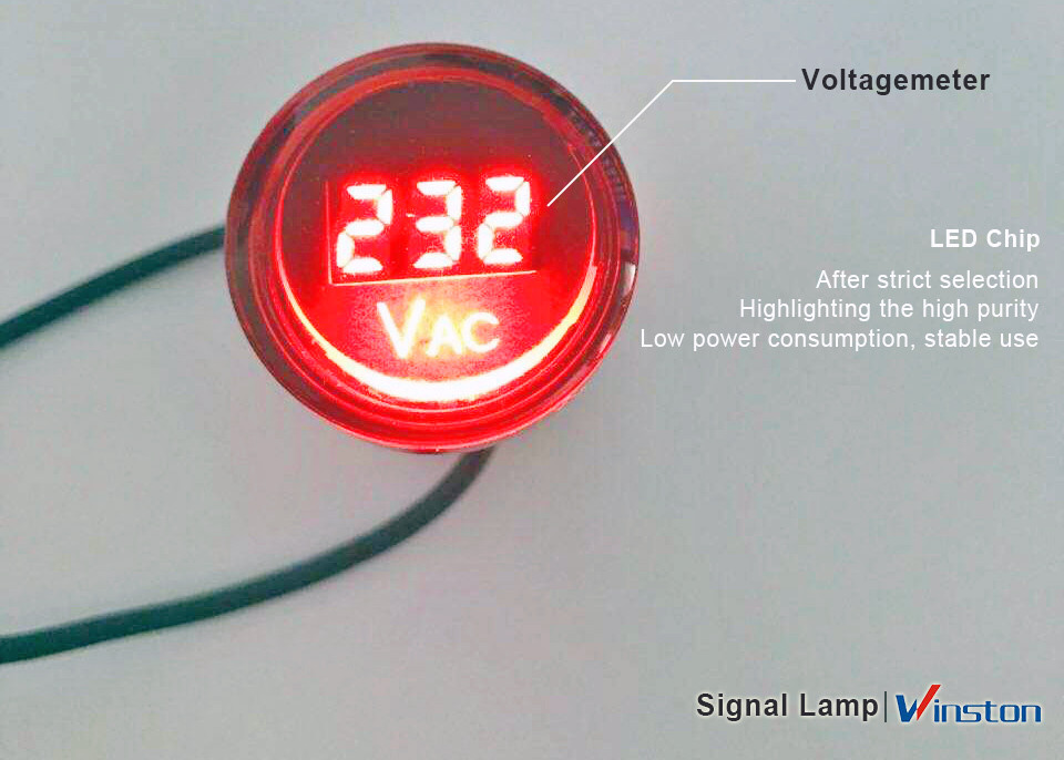 LED Indicator Voltagemeter / Signal Lamp AD22-RV