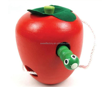 Montessori education wooden apple toy,Funny the worm eat the apple toy,Worm eat the red wooden apple toy for kids