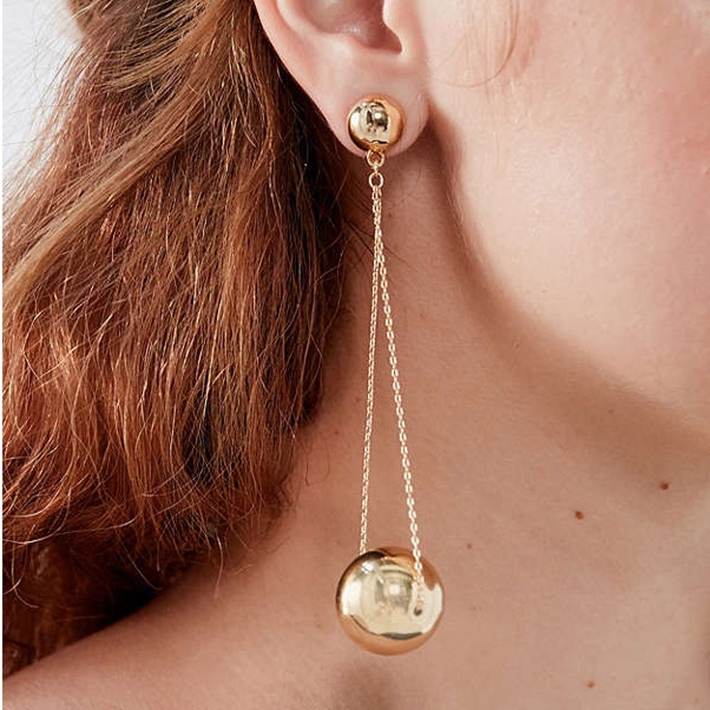 Olivia New Arrival Jewelz Stainless Steel Women Accessories Chi Dropped Ball Statement Earrings