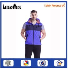 Stand collar blue warm sleeveless down-wear vest