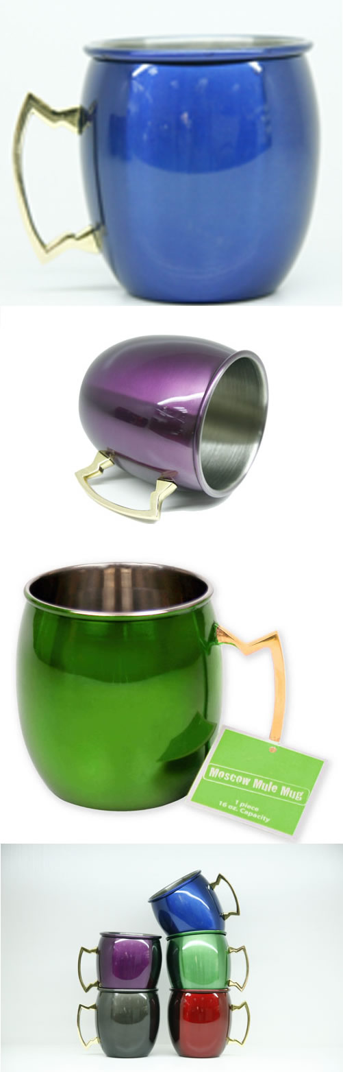 High quality stainless steel colorful mule mug