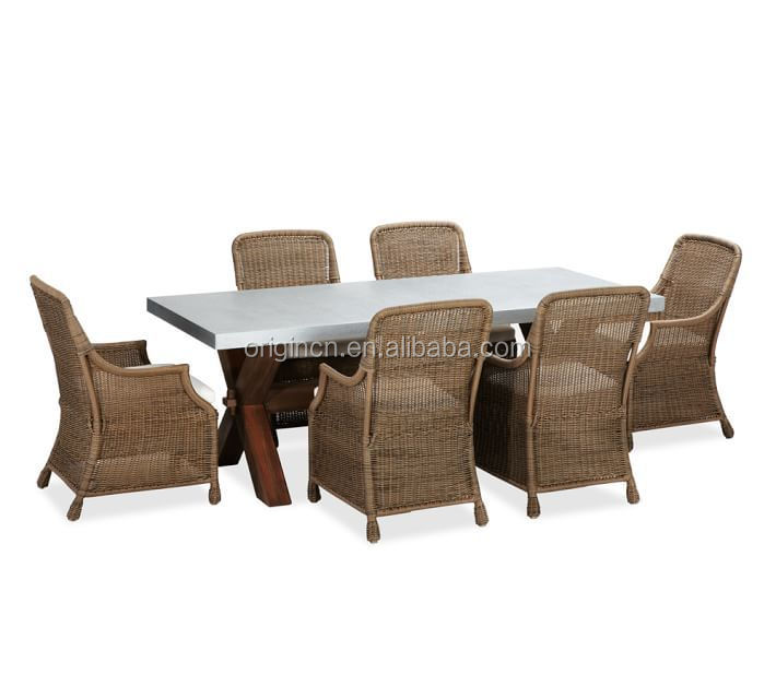 Outdoor picnic zinc top wooden dining table rattan chairs for High quality outdoor furniture