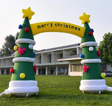Advertising Party Airblown Inflatable Christmas Tree Archway Lawn Ornaments For Sale