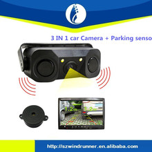 Car Reverse Rear Radar System 2 Black Parking Sensors With 1 camera
