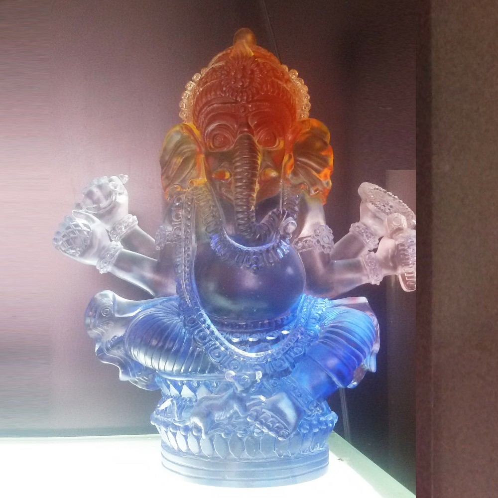 Factory Produce Figure of the Buddha Coloured Glaze Crystal Figurines Wholesale