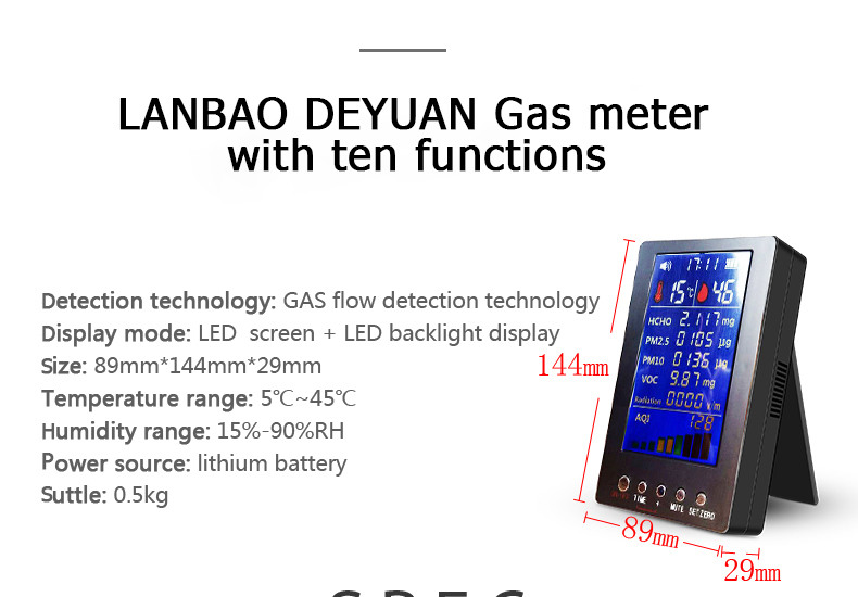 Indoor Outdoor Colored English Screen PM2.5 PM10 Formaldehyde Detector