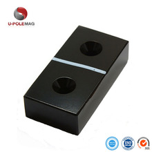 Black Epoxy Block Neodymium Magnet with Double Countersunk Holes
