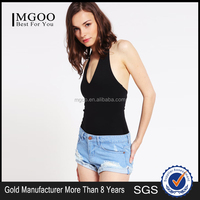 Custom Made Women Slim Fit Halter Crop Top Cut Out Back Plain Black Tank Top Sexy V Neck Travel Outwear