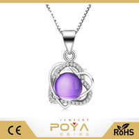 POYA Jewelry 925 Sterling Silver Box Chain Named Angle's Apple Heart Pendant Necklace With Crystal