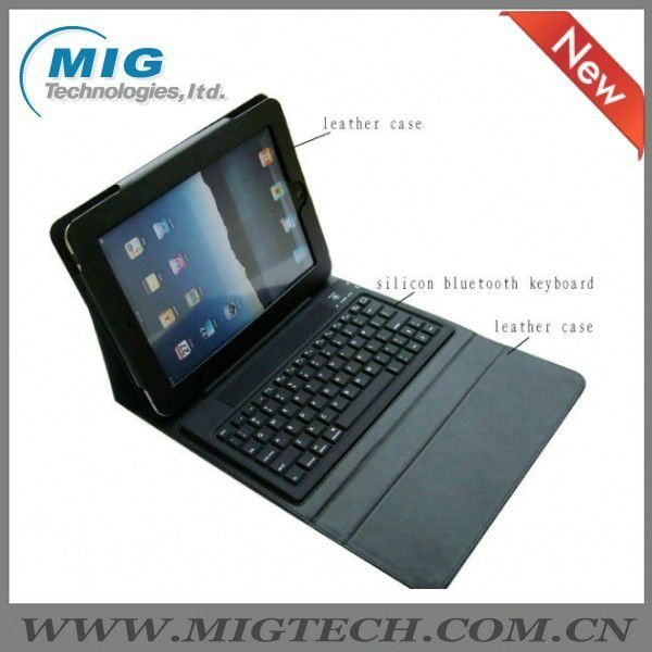High end Leather Case for Ipad 3 4 5 with bluebooth keyboard, for ipad 5 case