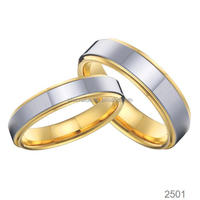 latest new design titanium jewelry plated golden wedding ring pair for men and women