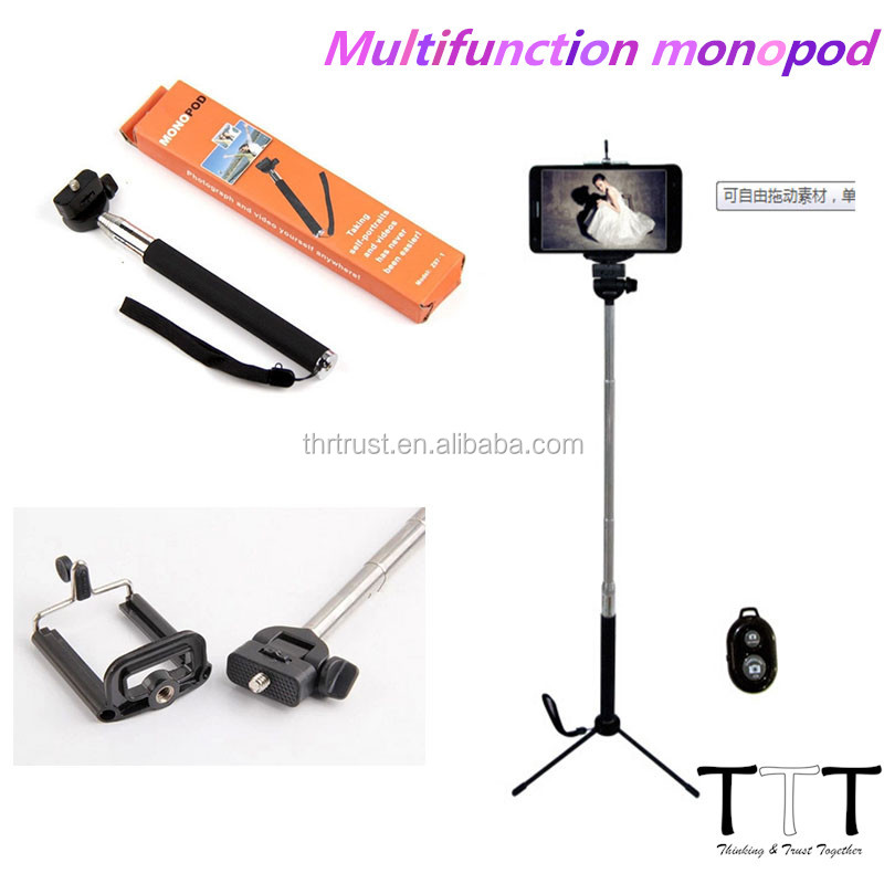 Aluminum Material and Digital Camera Use bluetooth monopod selfie stick for ipod touch 5