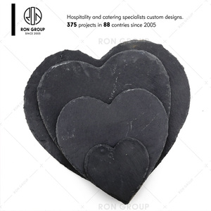 Restaurant heart shaped black slate stone food serving plate