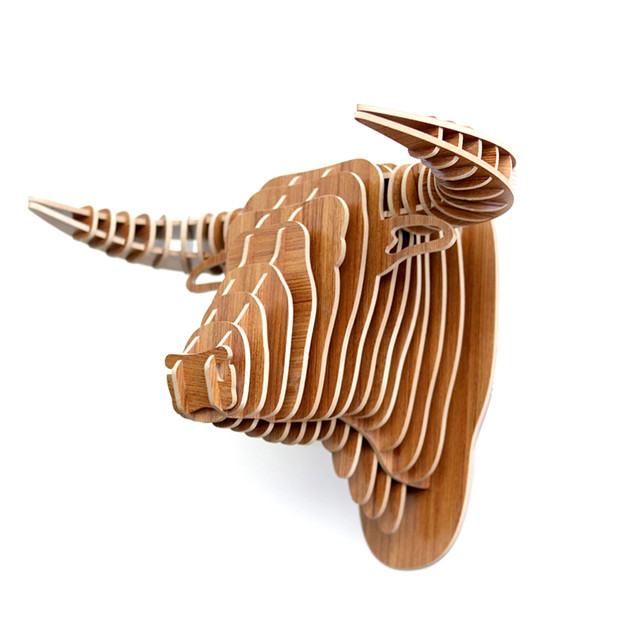 laser cut plush animal head wall decoration for Home decor
