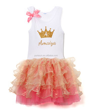 Wholesale children girls birthday party bow tops and tutu dress outfits