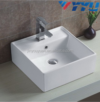 new design art basin ceramic bathroom white basin square shape new design single hole wash basinYB003
