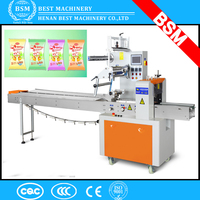BSM brand Frozen Food/ Candy/Pillow/Bread/ Cake packing machine/Flow packing machine