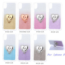 New Arrival Heart Shape Cell Phone Case For iPhone X Hybrid Phone Case With Ring Holder, Cover For iPhone X Phone Shell