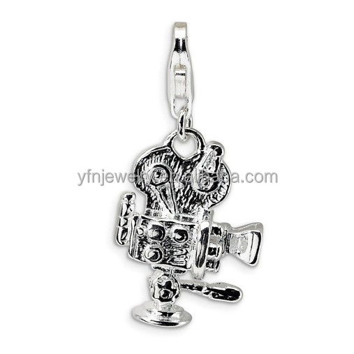 Old Fashioned Movie Camera Design 925 Silver Clip On Charms for Bracelets