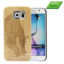 Plain engraving wooden mobile phone case for Samsung S6