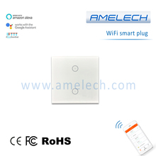 220v smart home wireless voice remote control alexa google ifttt wifi touch glass wall light switch