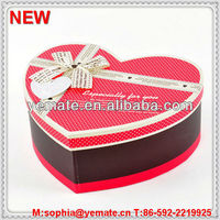 Luxury Dove chocolate packaging box ( red heart shape & ribbon bow on lid)