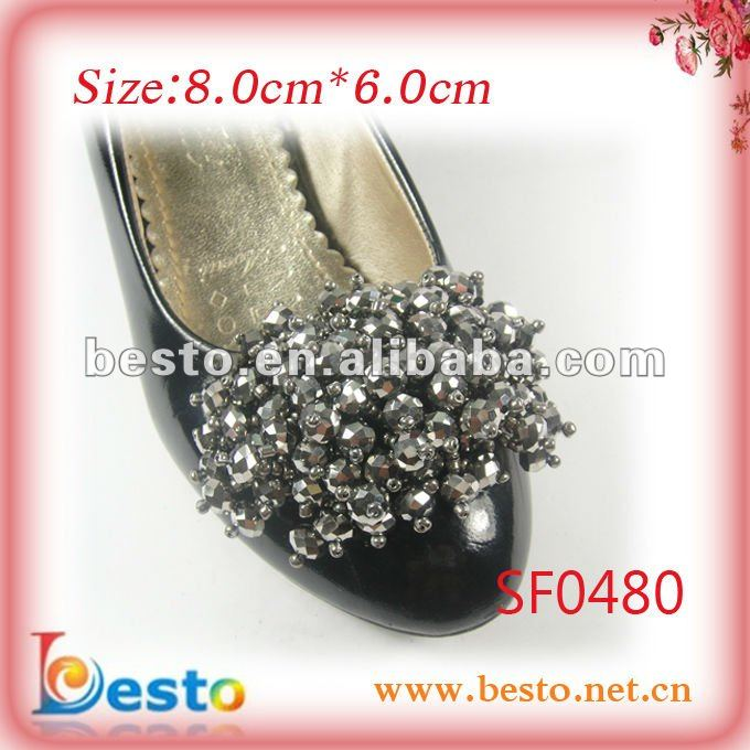 SF0480 Removable sliver glass bead bow shoe clips for high heel