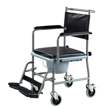 Mobile commode wheel chair with bedpan for disabled people