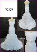 2014 real sample corset back guangzhou sexy Organza mermaid wedding gowns/bridal dress with beading motif pattern belt V0305
