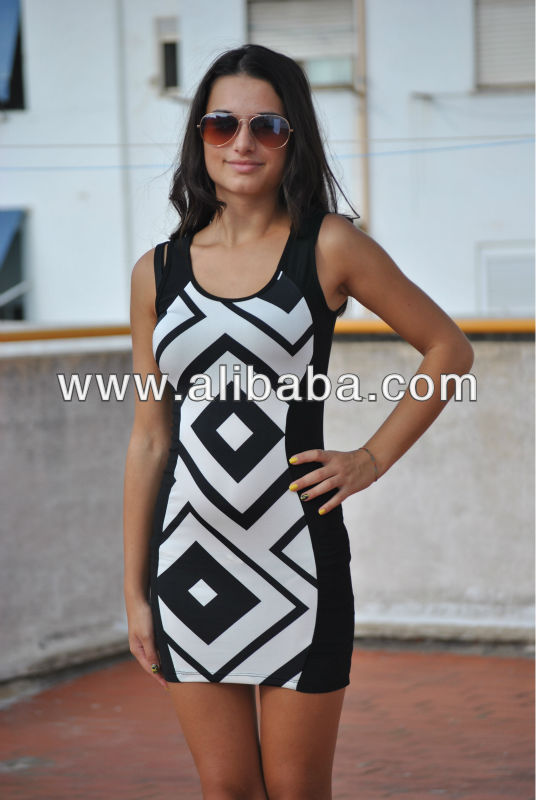 Zig Zag Evening Casual Cocktail Dress