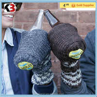 2016 Fashionable acrylic hand make knitted beer gloves drinking beer gloves winter mittens for drinking
