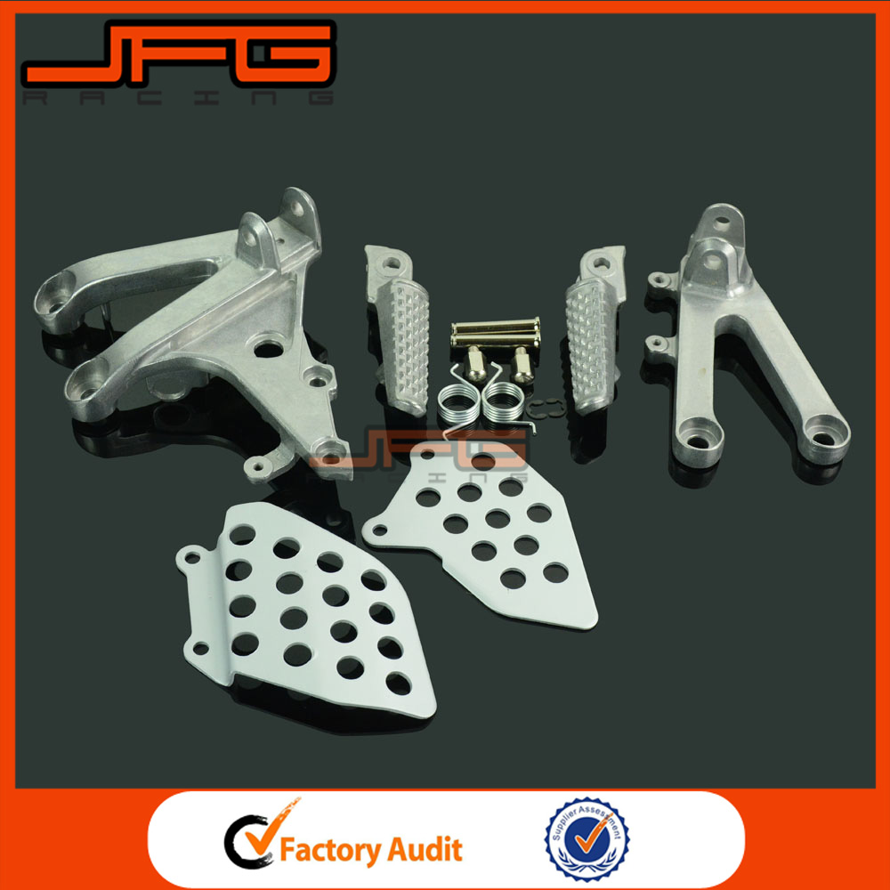 Motorcycle Silver Front Rider Footrests Foot Pegs Rests Pedals & Tripod Brackets Mount For CBR600RR CBR 600 RR 2007-2014