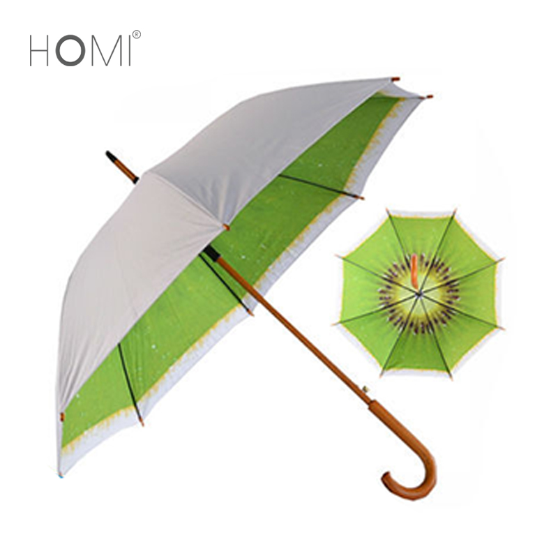 2018 Fashion Double Layer Fruit Printed Umbrella Wooden Frame Regenschirm