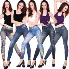 Cheap Price Ladies fashionable super elastic slim jean Wholesale High quality Ladies Sexy denim leggings Jeans leggings