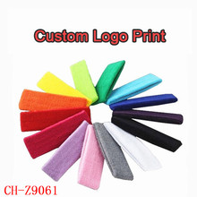 Custom logo Print Towel elastic headband , Promotional sports headband hairband lady