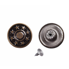 Garment Accessories Wholesale 17mm Star Pattern Tack Denim Jeans Metal Buttons