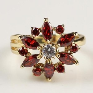 Fashion New Design Gemstone Ruby 16K Gold Plated Cocktail Ring Jewelry Wholesale