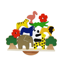 Wooden Animals Stacking Blocks Balancing Games Play Set Toys Educational Child