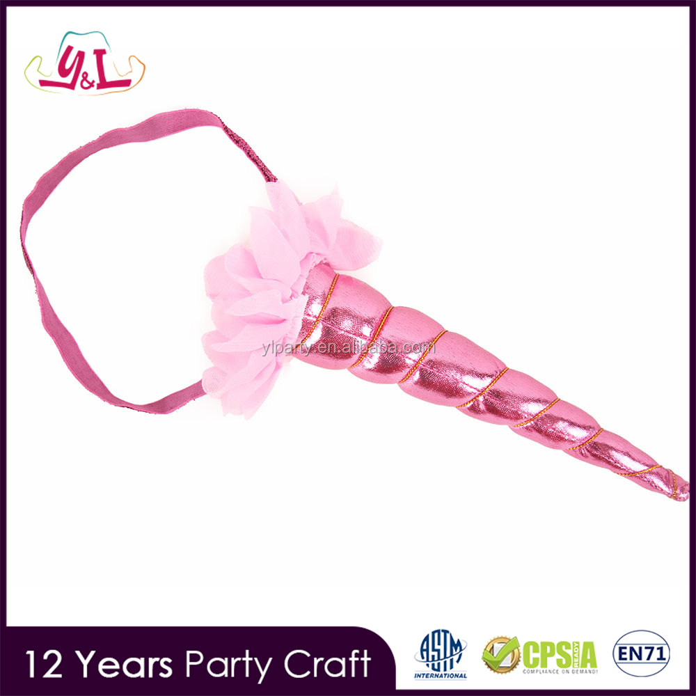 Glitter Fabric Pink Unicorn Horn For Birthday Girl