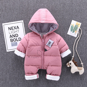 2018 Brand Winter Thicken Snowsuit Down Warm Newborn Baby Romper Baby Boys Girls Clothes Infant Jumpsuits Hoodies One Piece