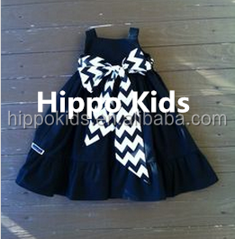 New fashion custom boutique children clothing girls little black dress with a big bow kids cotton frocks design girls dress