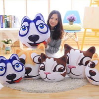 God's Fake Dog 3D Printing Cartoon Husky Pillow For Kids