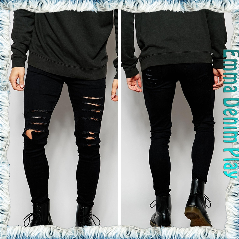 Manufacturer 2016 Fashion New Style Men's Slim High Quality Denim Ripped Raw Selvedge Jeans