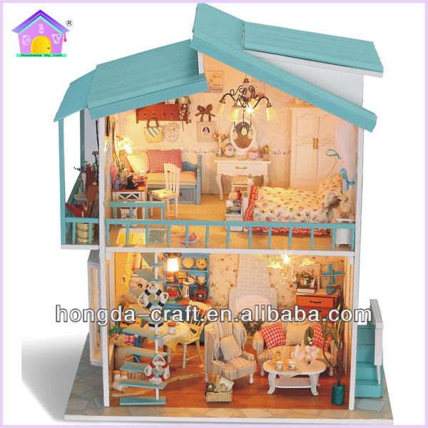 Good quality DIY wooden dollhouse mini toy house with light and simulation furniture for kids
