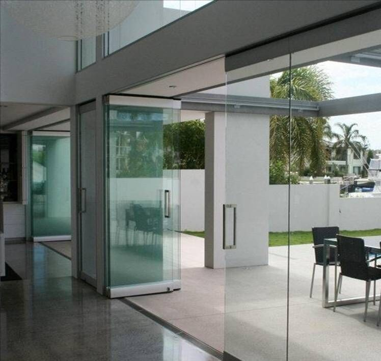 Aluminum glass railing frameless folding sliding doors and windows design