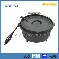 High quality pre-seasoned cast iron dutch oven for camping