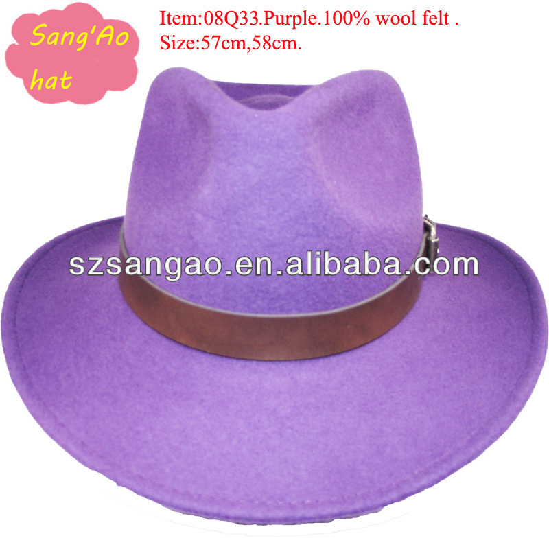 purple cowboy hat with wool felt